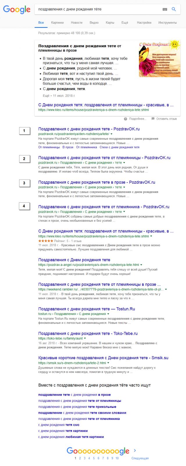 Топ 10 гугла